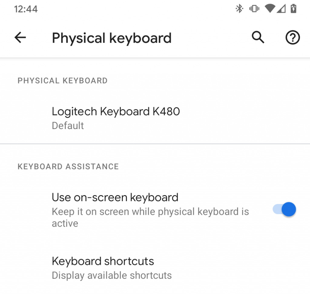 External keyboard settings